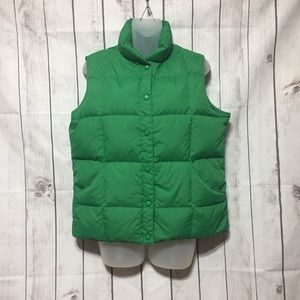 Lands End Puffer Down Vest M 10-12 Green Snap